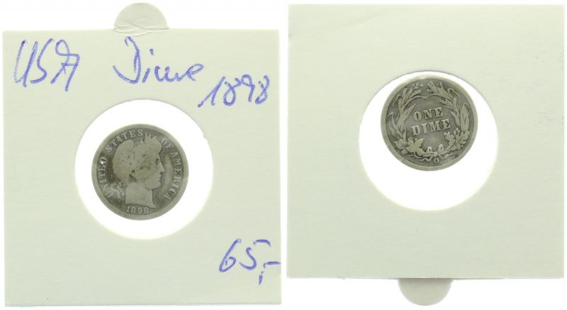 USA Dime 1898 O New Orleans