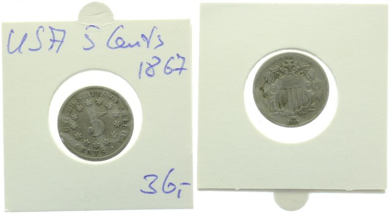 USA 5 Cents 1867