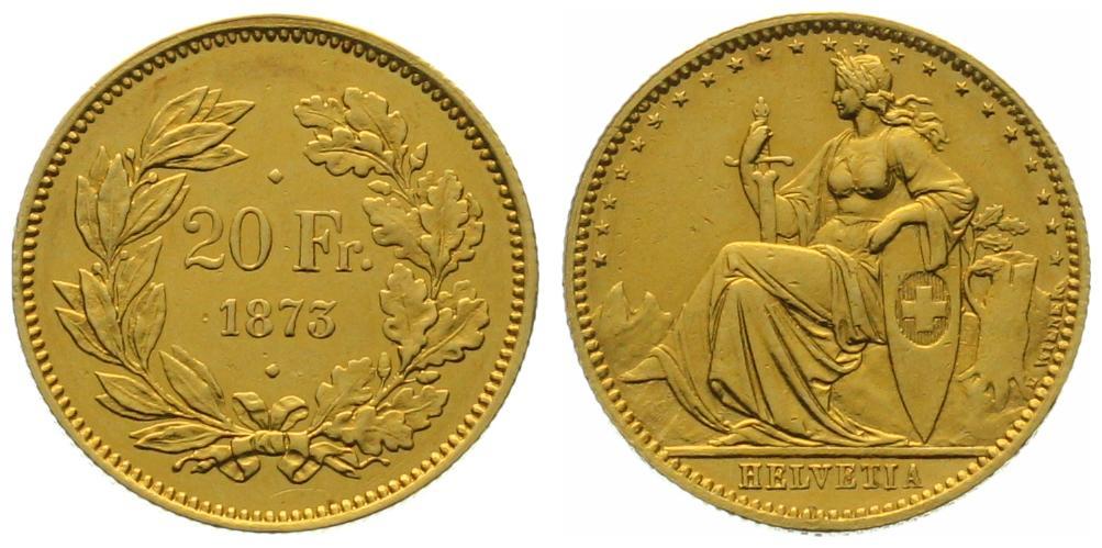 20 Franken 1873 2 Punkt Probe