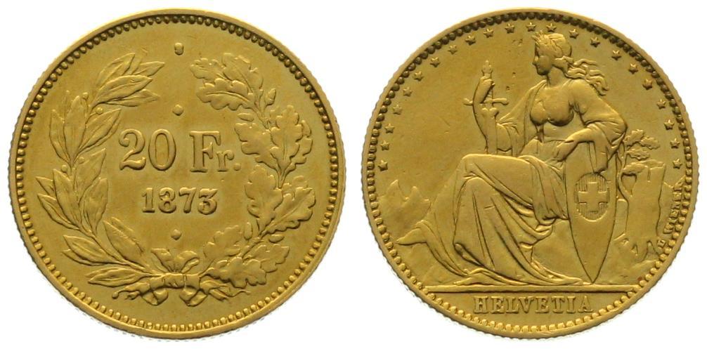 20 Franken 1873 3 Punkt Probe