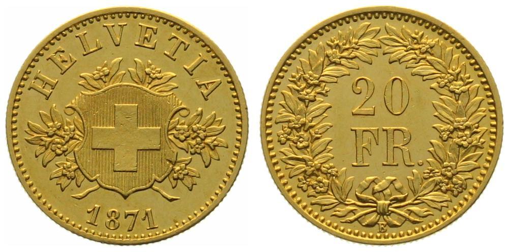 20 Franken Probe 1871 (Wappen)